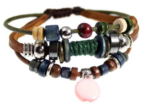 Shell Drop Leather Zen Bracelet, Fully Adjustable, Gift Box