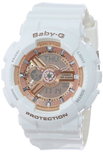 Casio Women's BA-110-7A1CR Baby-G Pink Analog-Digital Watch with White Resin Band
