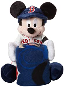MLB Boston Red Sox Mickey Mouse Pillow with Fleece Throw Blanket Set by Northwest