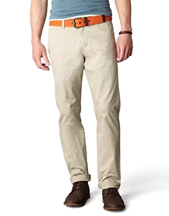 Dockers Men's Alpha Khaki Slim Tapered Flat Front Pant, Safari Beige, 28x28