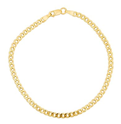 Miore MSIL927B 9 ct Yellow Gold Hollow Diamond Cut Curb Chain Bracelet - 19.5 cm