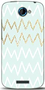 Snoogg Chevron Blue Designer Protective Back Case Cover For HTC One S