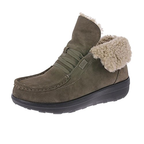 Fitflop Loaff Pizzo-up Stivaletti In Shearling Bungee Cord UK8 Corda Elastica