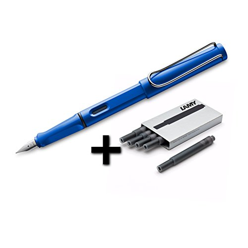 Lamy Safari Fountain Pen (14F) Sky Blue + 5 Black Ink Cartridges (Fine Pens Made In Germany compare prices)