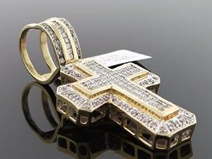 Designer Hip Hop Men's Cross Charm Pendant 14k Yellow Gold 3.00ct Diamond CT-106Y
