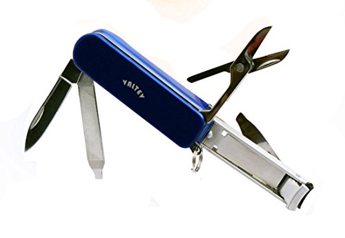 Multitool Nail Clippers Blue, Keyring Accessories, 5 Stainless Steel Folding Functions