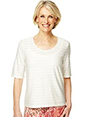 Classic Collection Textured Striped Top with Camisole