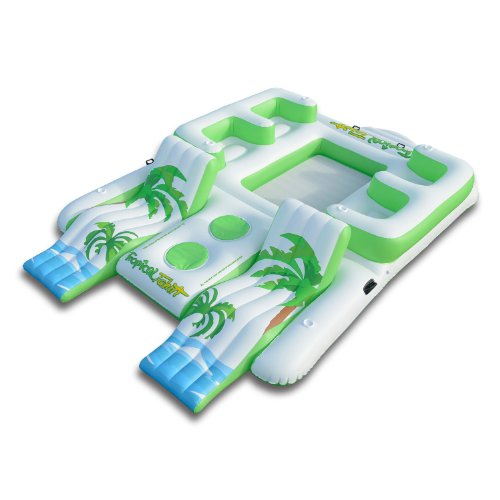 Blue Lagoon Inflatable Island Pool Float Holds 6 Person