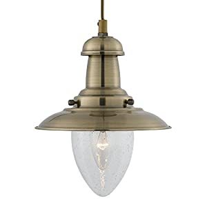5787AB Small Fisherman Ceiling Light in Antique Brass by Searchlight