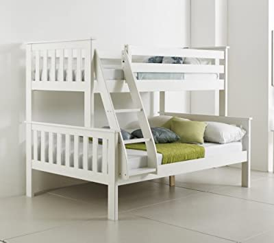 Happy Beds Bunk Bed Atlantis Pinewood White Triple Sleeper Quality Solid Pine Wood With 2x Luxury Spring Mattresses