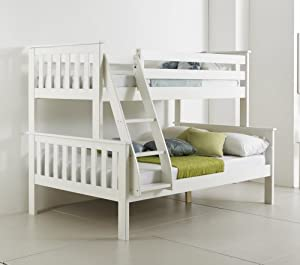 Atlantis Pinewood White TRIPLE SLEEPER BUNK BED, Quality Solid Pine Wooden Bed with 2 POCKET SPRUNG MATTRESSES
