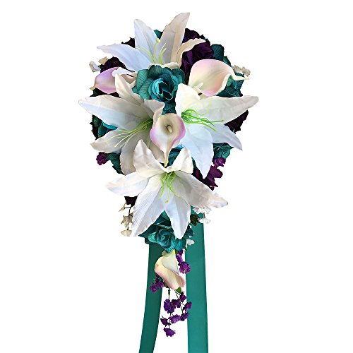 Cascade Wedding Bouquet - Jade, White, and Purple Artificial Arrangement