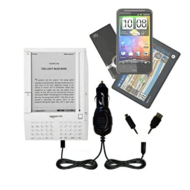 Amazon Kindle (1st Generation) Gomadic Multi Port Mini DC Auto / Vehicle Charger - One Charger with connections for two devices using upgradeable TipExchange