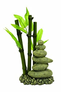 Rosewood zen bamboo pebbles aquarium ornament for Decoration zen aquarium