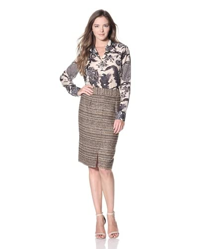 Craig Taylor Women's Giovanna Boucle Skirt  - Brown Taupe Gold