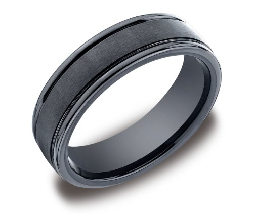 Men's Ceramic 6mm Comfort Fit Wedding Ring Band Satin Center with High Polished Round Edges, Size 9.5