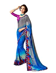 Amazing Grey & Blue Saree