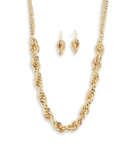 Thick Gold Tone Chain Link Necklace Dangle Earrings Set
