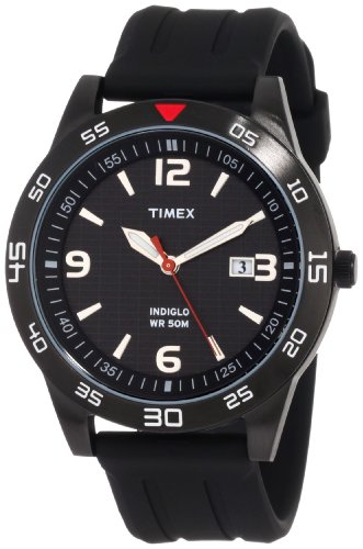 Timex Men's T2N6949J Style Sport Black IP Case and Resin Case Watch