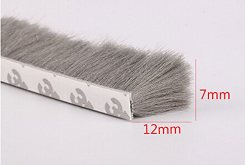 7mm x12mm Self Adhesive Dustproof Aluminum Window Door Tape Brush Seal Strip Weatherstrip Draught Excluder Gray (Window Brush Seal compare prices)
