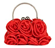 Scarleton Satin Evening Bag with Rose…