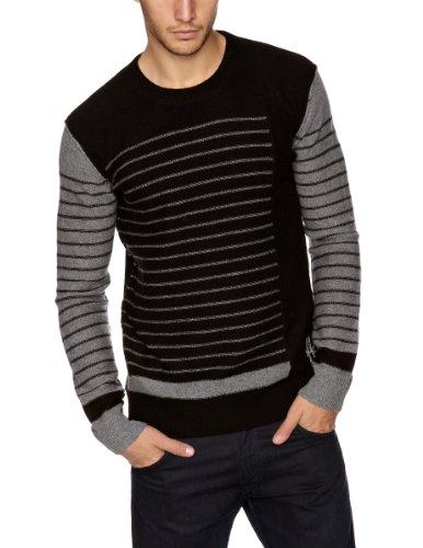 Bolongaro Trevor Stripe Men's Jumper Grey And Black X-Large