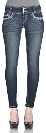 WallFlower Juniors Triple Button Sassy Skinny Jeans in Brandy Size: 0