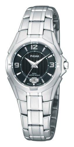 Pulsar Bracelet Collection Stainless Steel Black Dial Women's watch #PXT795