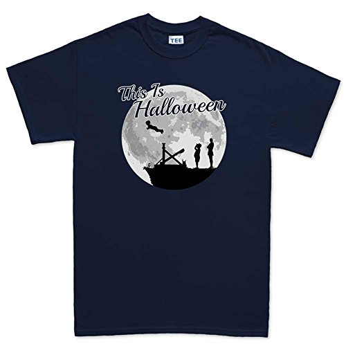 [Mens This is Halloween Addams Funny Scary Costume T Shirt (Tee) M Navy Blue] (Lurch Costumes)