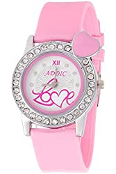 Addic Hearts-In-Love Soft Strap White Dial Watch for Women, Girls