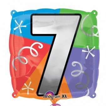 Anagram International 2462301 Number 7 Quad Foil Pack Balloon, 18""