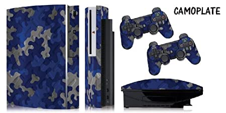 Protective skins for FAT Playstation 3 System Console, PS3 Controller skin included - CAMOPLATE BLUE
