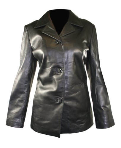 Womens 3 Button Black Leather Lambskin Jacket - Buy Womens 3 Button Black Leather Lambskin Jacket - Purchase Womens 3 Button Black Leather Lambskin Jacket (USA Leather, Apparel, Departments, Women, Outerwear)