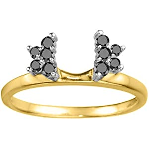 Two Tone Sterling Silver Solitaire Ring Wrap Enhancer (0.19 crt. Black Cubic Zirconia).