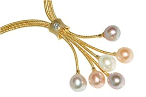 Natural Colored Fresh Water 10.00mm Multi-Colored Drop Pearls, Set on an 18K Yellow Gold Triple-Strand Hand-Woven Lariette Necklace, Enhanced with a Bezel-Set Diamond.
