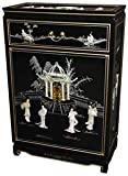 "Classic Asian Accent Furniture - 36"" Ming Lacquered Oriental Shoe Cabinet Linens Chest - 3 Colors"
