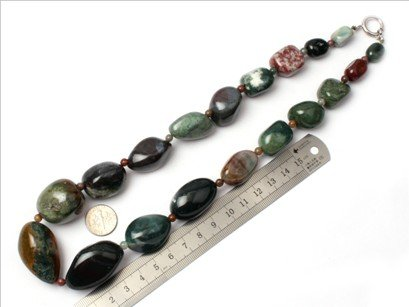 16--30mm graduated indian agate beads strand necklace 18