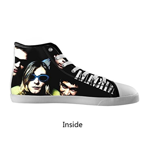 Generic Classic Music Band Nirvana Fashion Hipster Personalized Cool Design For Custom White Round Toe High Top Lace-Up Canvas Running Shoes For Men Boy (Model002)