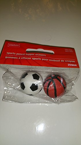 Staples Sports Ball Eraser Toppers - Soccer Balls & Basketball; Model #25908; 2 Balls Per Pack - 1