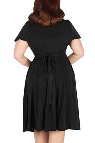 Nemidor Women's V-neckline Stretchy Casual Midi Plus Size Vintage Dress (26W, Black)