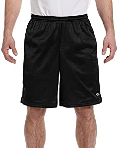 Champion Men's Long Mesh Short With Pockets, Black,X-Large