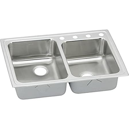 Elkao|#Elkay LRQ2501 18 Gauge Stainless Steel 33 Inch x 22 Inch x 7.875 Inch Double Bowl Top Mount Quick-Clip Kitchen Sink, 1 Faucet Hole,