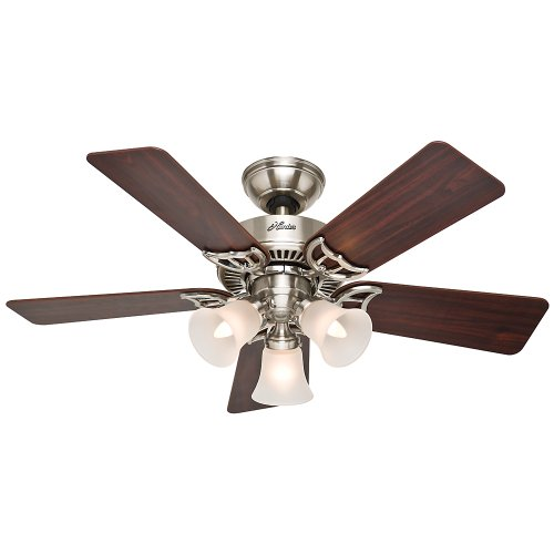Hunter 51011 Southern Breeze 42-Inch Brushed Nickel Ceiling Fan with Five Cherry/Maple Blades and Frosted Glass Light Kit (42 In Ceiling Fan Brushed Nickel compare prices)
