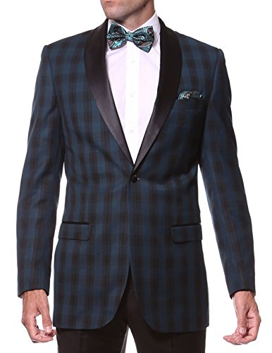38S Zonettie by Ferrecci Mens Teal Plaid Slim Fit Shawl Tuxedo Blazer Jacket