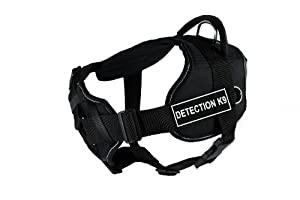 Dean & Tyler Fun Harness with Padded Chest Piece, Detection K9, Large, Black with Reflective Trim