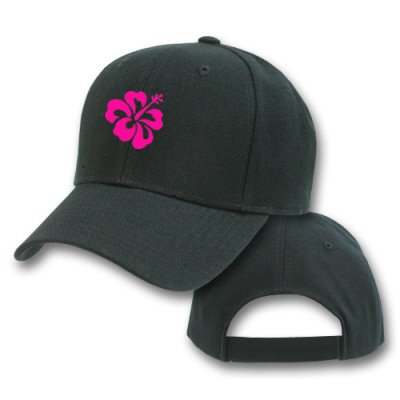 Pink Hibiscus Flower Tropical Beach Ocean Plant Embroidered Hat Cap