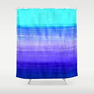 Society6 Ocean Horizon Cobalt Blue Purple Mint Waterco Shower Curtain By