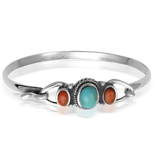 Bling Jewelry Sterling Silver Oval Turquoise and Carnelian Bali Bangle