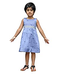 Snowflakes Girls' Dress (GFCKCNSLBE0456, Blue, 5 - 6 Years)