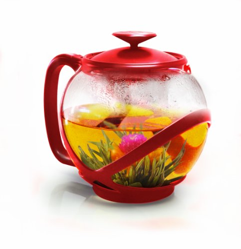 Primula Ptre-2340 Tempo Teapot With Infuser And Lid, 40-Ounce, Red